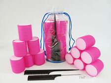 12 Sleep-in Self Grip Foam Cushion Rollers Set- Large Pink 50mm  *Two Free Combs