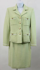 ST. JOHN COLLECTION MINT GREEN SKIRT JACKET BLAZER SET OUTFIT 2 PC SZ 0  (J12)