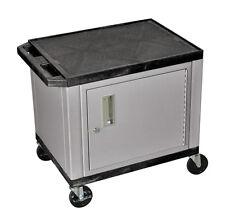H Wilson Tuffy AV Cart - 2 Shelves w/ Cabinet Putty Legs WT26C4E-N NEW