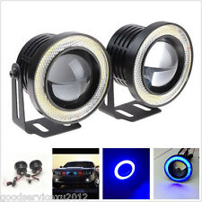 "2 Pcs 12V 10W 2.5"" Blue COB LED Halo Angel Eye Rings Car Fog Lights Working Lamp"