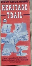 1964 New England Heritage Trail vintage travel tourist road map and brochure b