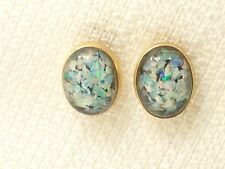 Estate 14K Yellow Gold Mosaic Opal & Onyx Stud Earrings
