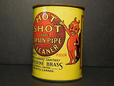 "Antique POISON Wolverine Brass ""Hot Shot"" Drain Pipe Cleaner Tin Toronto Canada"