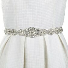 New Bridal Gown Wedding Dresses Crystal Pearl Appliques Rhinestone Sash Belt