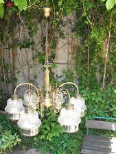 Antico splendido lampadario ottone bronzo dorato cristallo opalinato anni30 sala