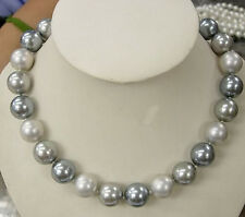 "Fashion 12MM Elegant South Sea Shell Pearl Round Beads Jewelry Necklace 18"" AAA"
