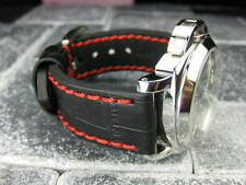 New BIG CROCO 20mm Black LEATHER STRAP Red Stitch watch Band OMEGA Seamaster