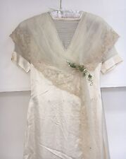 Antique Rare Edwardian Silk Wedding Dress Vintage Beautiful Details