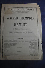 1919 George M Cohans A PRINCE THERE WAS & Walter Hampden Hamlet Tremont Boston