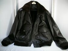 Dark Brown 100% Leather bomber jacket w/Removable fur lining and fur collar NICE