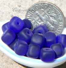 Czech Glass Cube Beads~ 5x7mm~COBALT BLUE w/Frosted Sea Glass Finish~ 25 Pieces