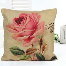 Personalized Pink Vintage Rose Throw Pillow Case Home Decor Cushion Cover