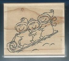 SLEDDING KIDS Child Scarf Hat Winter Hill Scene NEW STAMPIN' UP! RUBBER STAMP