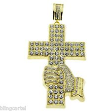 Jesus Piece Iced-Out Hand Holding Cross Yellow Gold Finish Mens Hip Hop Pendant