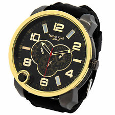 Mens Two Tone Iced Out Over sized Hip Hop Fashion Silicone Quartz Wrist Watches