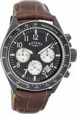 Rotary Men's Black Dial Brown Leather Strap Chronograph Watch GS03908/04
