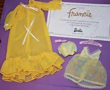 Silkstone Barbie FRANCIE Kitty Corner YELLOW Sheer PAJAMAS PJs & ROBE w Hanger
