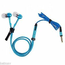 Tangle-free Zipper-type 3.5mm Earphone with Mic (Blue)