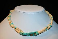 VINTAGE 2 STRAND 925 STERLING REAL NATURAL TURQUOISE HEISHI TWISTED NECKLACE 15""