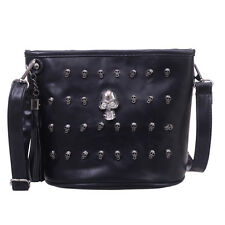Fashion Women Leather Skull Punk Goth Tassel Messenger Shoulder Bag Tote Handbag
