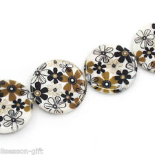 "1 Strand Shell Loose Beads Flower Pattern Round Multicolor 30mm(1 1/8"")Dia."