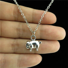 "18"" Chain Alloy Collar Short Necklace Silver Animal Pig Piggy Pendant Jewelry"