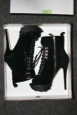 BEBE 7 7.5 Yasmin black platform lace-up ankle leather/suede peep-toe boots