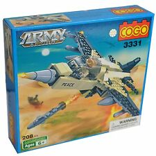 ARMY JET FIGHTER Building Blocks kids toyset BRAND NEW - 208 Pieces