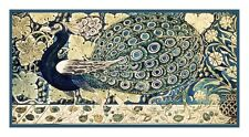 Arts & Crafts DeMorgan Elegant Peacock in Blues Counted Cross Stitch Pattern