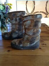 VTG Quoddy Mukluks Faux Fux Fleece Lined Boots Womens 8.5 9 Snow Winter Leather