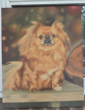 Vintage Retro Blonde PEKINGESE DOG Portrait Oil Painting Signed c1984 ART