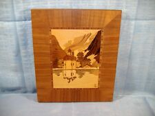 German Wood Marquetry Inlay Picture Landscape Onion Dome Church Signed S