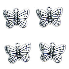 50pcs Wholesale Antique Silver Butterfly Charms Alloy Pendants Findings Crafts J