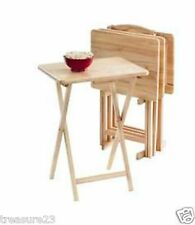 5Pc TV Tray Table Set Wood Stand End Folding Furniture Serve Snack Dinner Coffee