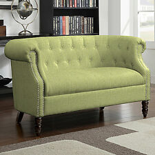 Green Tufted Loveseat English Accent Living Room Wood Furniture Settee Sofa Chai