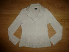 Women's Gant Chunky Cream Beige Classic Collar Button Up Cardigan Top Size M/ P
