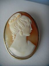 Victorian Sterling Silver Art Nouveau Cameo Brooch Pin
