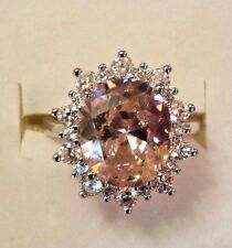 Sterling Silver Oval Cut Pink Kunzite & White Sapphire Gemstone Ring Size 7