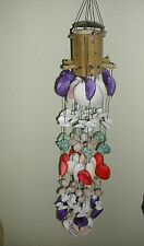 BEACH LIFE !! BAMBOO& SHELLS WIND CHIME 10 STRAND MULTI COLOR  BEAUTIFUL SOUND