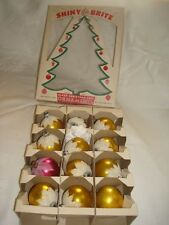Shiny Brite Vintage 1950's MICA Snow Cap Ornament Box of 12 ~Christmas