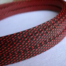 1 meters Black&Red High Densely 10mm Expanding Matte Braided Sleeving Cable