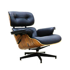 Eames Style Lounge Chair and Ottoman Black Premium PU Leather Palisander Plywood