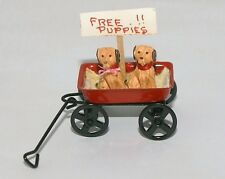 PUPPIES IN WAGON  Nursery Baby Room Play Pets Dollhouse Miniatures 1:12 Scale