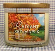 1 Bath & Body Works RADIANT RED MAPLE 3-Wick Scented 14.5 oz Candle