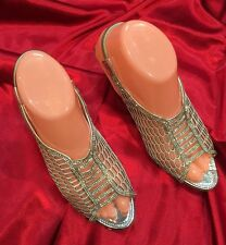 Size 6 Ladies Indian Bollywood Fancy Bridal Shoes Heels Sandals Silver S15
