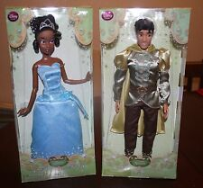 "Disney Store 12"" Classic Princess and the Frog Dolls Tianna & Prince Naveen LOT"