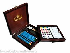 ROYAL LANGNICKEL ARTIST PREMIER DRAWING WATER COLOUR PENCIL WOODEN BOX SET 45PCS