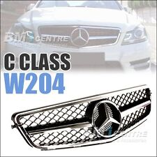 Front Mesh Grille Grill For Mercedes Benz C Class W204 2008-2014 Black AMG Sport