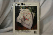 Bucilla Stamped Cross Stitch FLORAL HEART 40566 Lap Quilt / Wall Hanging Flower
