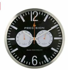 Precision Wall Clock Radio Controlled Black Hygrometer & Thermometer 30cm Round